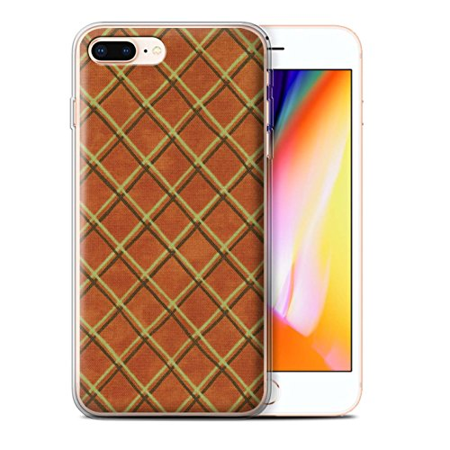 Stuff4 Gel TPU Hülle / Case für Apple iPhone 8 Plus / Grün Muster / Kreuz Muster Kollektion Orange