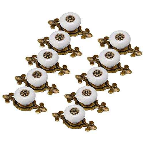schrankgriffe, Finer Shop 10er Antik Design Weiss Altgold Porzellan Möbelknöpfe Griffe Knauf MöbelKnopf Möbelknöpfe Möbelgriff -