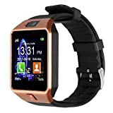 Padgene DZ09 Smart-Armbanduhr, Bluetooth-Kamera, Telefon mit SIM-Kartenslot, 2.0 Kamera-TF-Kartenunterstützung, für Android-Smartphones von Samsung, HTC, LG, Sony, Blackberry, Huawei, Gold(Black Band)