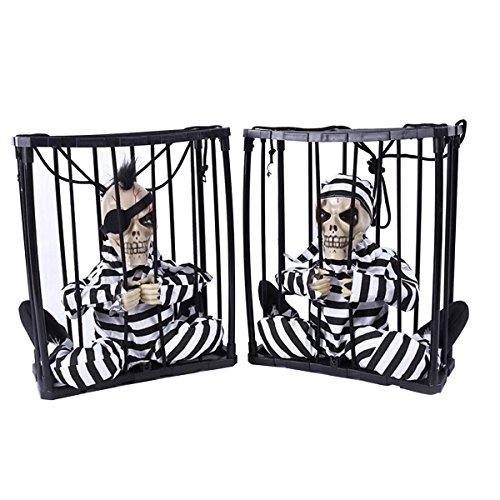 Gefangener Halloween (Halloween Haunted House Bar KTV Dekorative Requisiten, Halloween Bewegungsmelder Jail Gefangene Terror Blinklicht bis Dekoration Prop Spielzeug für Halloween Party)