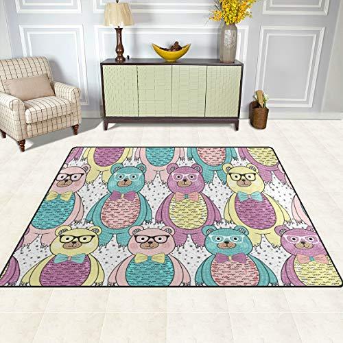 FAJRO Fliesen-Fliesen, Cartoon-Bär-Teppiche, für Eingangsbereich, Fußmatte mit Mehreren Mustern, rutschfest, für drinnen und draußen, Polyester, 1, 80 x 58 inch