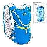 Azarxis Zaino Trail Running Gilet Portaborraccia per Uomo Donna 8 L da Corsa Gara Idratazione Trekking Maratona Ciclismo Hydration Backpack Regolabile (Blu - con 1 Vescica dell'acqua (1.5 L))