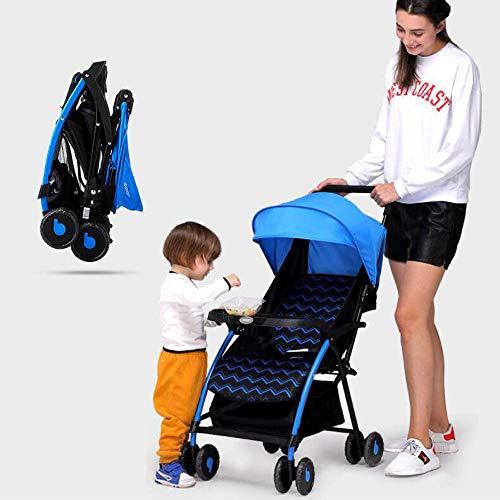 GAOYY0202 Passeggino Cuatro Ruedas Plegable Sillas De Paseo De Seguridad Ajustable Carro De Cuatro Ruedas Universal Abatible (tamaño Plegable 25.5 * 9.8 Pulgadas Capacidad De Carga De 20 Kg),Blue