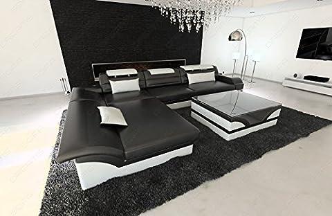 Designersofa Monza L-Form moderne Eckcouch mit Beleuchtung schwarz - weiss