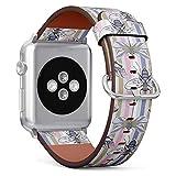 MysticBand Compatible avec Apple Watch (Grand) 42mm / 44mm, Bracelet de Remplacement en Cuir avec Connecteurs en Acier Inoxydable - Papillons de libellules