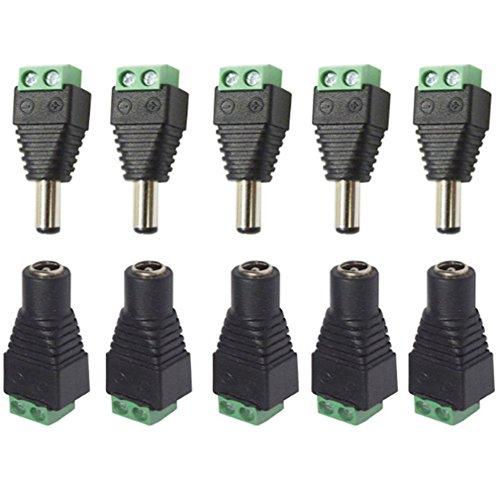 UKMASTER 5 x Verbinder + 5 x DC Buchse Set 2.1 x 5.5mm DC Steckverbinder Steckverbindung für 12V LED Streifen Licht, CCTV Kamera