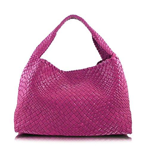 Ghibli luxe italien tissé à la main sac de seau en cuir, sac à bandoulière Rose