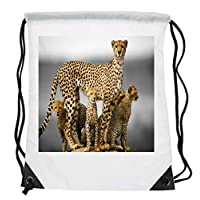 Bunny Organization Spectacular Cheetah Mother Surrounded By Cubs HD Bright Colourful Fur Body Affect Mammal Animal Lovers Drawstring Folding Gym Bag Perfect for PE School Work Travel Sports