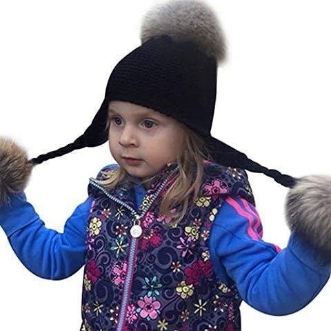 MIOIM Unisex Kinder Wintermütze Strickmütze Mütze Hüte Beanie Winter Ski Hüte Waschbär Pelz Wollmütze mit Bommel für 2-6 Jahre Kids