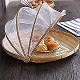 Handgewebter Zeltkorb, Obst-Gemüse-Brotdecke Aufbewahrungsbehälter für Picknick im Freien, Zeltkorb mit Gaze (Insektenschutz, staubdicht) Abwehr von Fliegen, Käfern, Mücken, etc. L