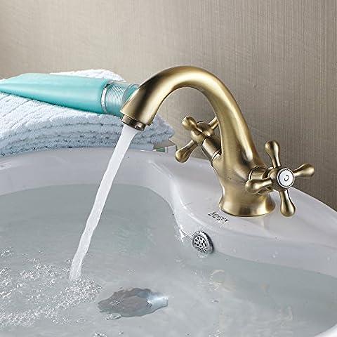 YJJ Stile europeo rame bronzo antico calde e fredde mani rotondo lavabo rubinetto