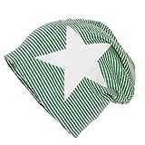BRUBAKER Unisex Beanie Mütze Streifen mit Stern grün