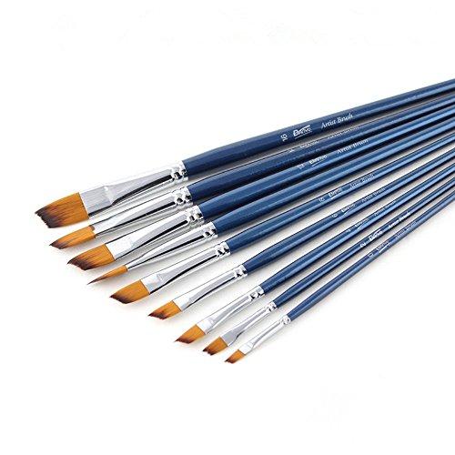 Wanlianer Stift Malen Klinge verlängert Perle Hellblaue Stange Kupferrohr Nylon Haarbürste 9 Gouache Acryl Aquarell Stift Gesetzt Bunte Stifte