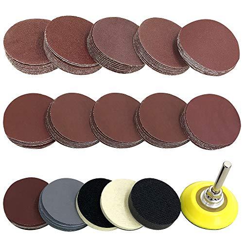 YuCool - Juego de discos de lija (120 unidades, 5 cm, 1 placa de vástago de 6 mm, 2 almohadillas de lana autoadhesivas y cojines de esponja para taladro y herramientas rotatorias, 124 unidades)