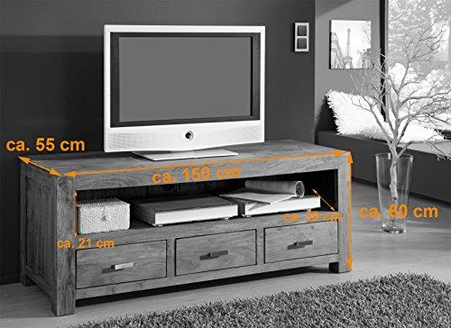 SAM® Longboard Saber 6618 aus Akazienholz, Sideboard stonefarben, massiv, 3 Schubladen, 2 große Ablageflächen, viel Stauraum - 2