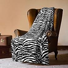 MANTAS PLAIDS BARCELO- Manta Plaid Zebra 160X220 cm para cama o sofá