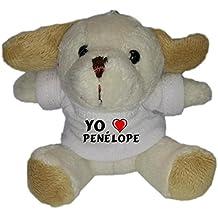 Perro de peluche (llavero) con Amo Penélope en la camiseta (nombre de pila/apellido/apodo)