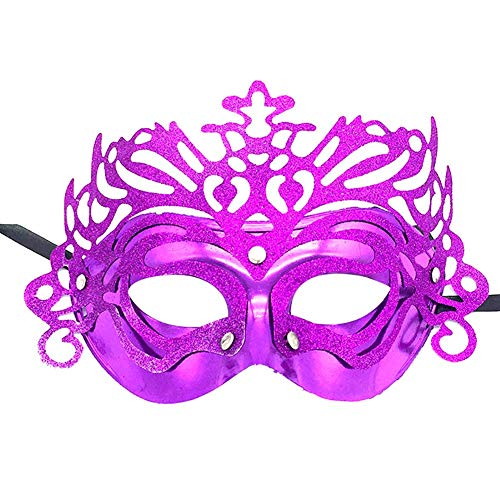 Gespout Goldpulver Krone Hohlmaske Maske Masquerade Mask Damen Halbe Gesichtsmaske Maskenspiel Frauen Augenmaske Venetian Karneval Maskerade Maskenball Kostüm für Halloween Weihnachten - Verrückten Mardi Gras Kostüm