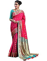 Craftsvilla Women's Silk Traditional Paisley Border & Buti Work Pink Saree with Blouse Piece