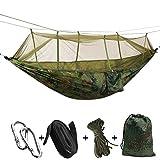 Medigy Outdoor Camping Hängematten mit Moskitonetz Tragbare Hängematte Parachute Zelt für Zwei Personen 260* 140cm-102* 55in Tragkraft 200kg L Camouflage