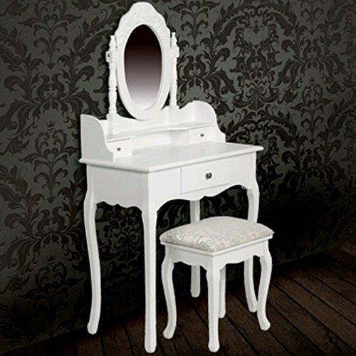 specchiera bianca con sgabello consolle mobile da toeletta per ... - Specchiere Camera Da Letto