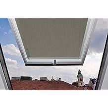 Cleanwizzard Store enrouleur occultant avec glissières latérales en aluminium pour fenêtres de toit VELUX GGU / GGL / GPU / GPL / GHU / GHL / GTU / GTL / GXU / GXL, gris, 808 - 117,3x116