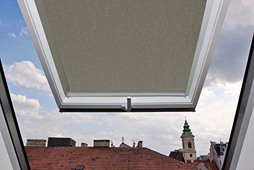 Für Velux Fenster GGU/GGL / GPU/GPL / GHU/GHL / GTU/GTL / GXU/GXL C04 Dachfensterrollo, Verdunkelungsrollos in Grau - 38,3x74cm (Breite x Länge) - mit seitlichen Führungsschienen aus Aluminium