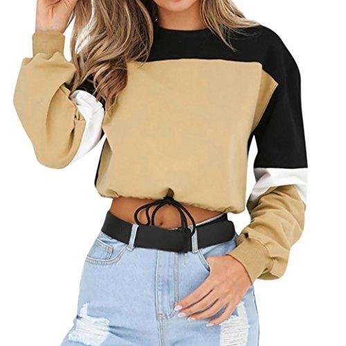 (Damen Shirts Tees Tops Oberteile Oversize Pullover Sweatshirts Pulli Hoodie Elegant Hemden Langarm Blusen Tuniken, Splitting Farbe (S,Khaki)