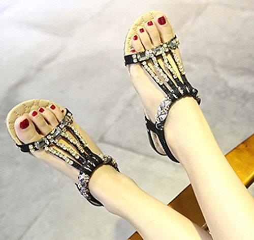 Aisun Femmes Brillant Paillettes Bout Ouvert Sandales Noir