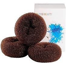 Clothobeauty - Set di 3ciambelle per chignon, taglia extra piccola per bambine e ragazze, per capelli corti e fini (7,6 cm )