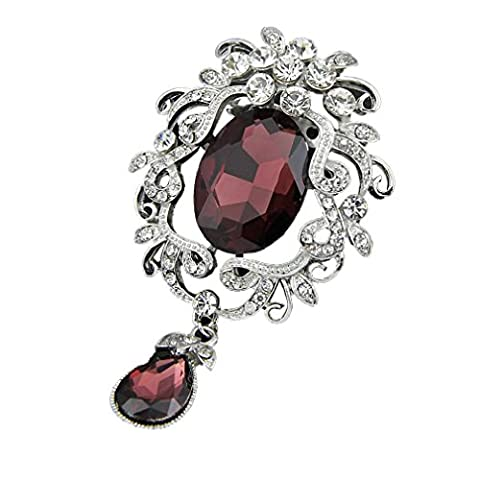 YAZILIND Fashion Flower inlaid Rhinestones Alloy Zirconia Pendant Broche Femme girls Accessoires (violet)
