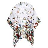 Felicove Damen Bluse, Casual Halbarm V-Ausschnitt Schmetterling Print Tops T-Shirt Bluse Sommer Chiffon Outerwear Blumen Sommerbluse