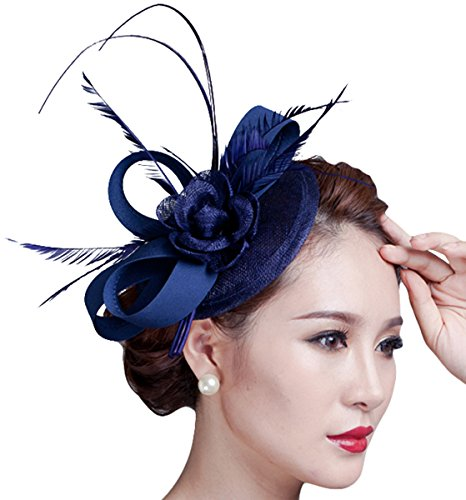 Kapmore Femmes Sinamay Fascinator Parti Feather Hat Pillbox Hat Flower Derby Hat Navy
