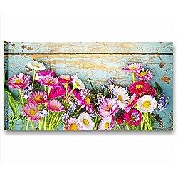 Margaritas Vintage 1–cuadro moderno 90x 45cm Impresión sobre lienzo flores rosa Daisy Shabby Boho Chic cuadros modernos rústico rural Style Romantic Country Muebles Casa Salón Oficina Home Decor