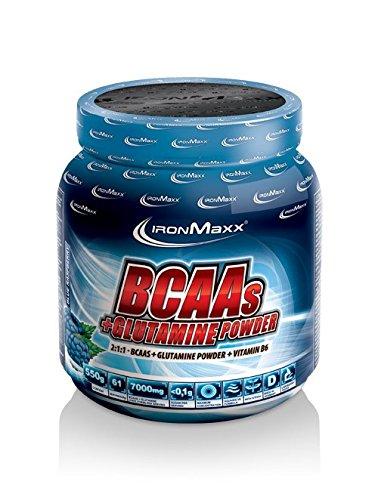 IronMaxx BCAA Pulver + Glutamin Pulver / Hohe Konzentration an Aminosäuren und L-Glutamin / Muskelaufbau und Muskelerhalt / Vitamin B6 / Wenig Kohlenhydrate & Zucker / Kirsch-Geschmack / 550g
