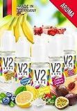 V2 Vape Set Joghurt-Bombe AROMA/KONZENTRAT hochdosiertes Premium Lebensmittel-Aroma zum selber mischen von E-Liquid/Liquid-Base für E-Zigarette und E-Shisha 5x10ml 0mg nikotinfrei