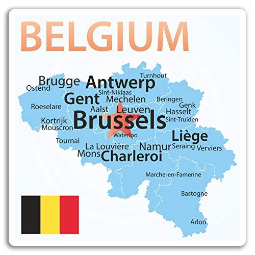2 x 10 cm Belgien Karte Vinyl Aufkleber - Flaggen-Reise-Aufkleber Laptop Gepäck # 17215 (10 cm groß)