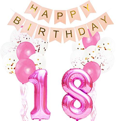 (KUNGYO Pinke Party Dekorationen zum 18. Geburtstag - Happy Birthday Banner Riese Zahl 18 Folienballon in Rosa Konfetti Folienballons Latex Balloons Bänder (32 Stücke))