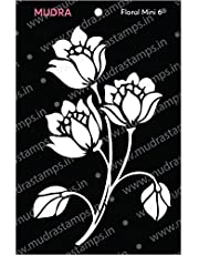 "Mudra Stencils - Floral Mini 6-3""x4"" - for DIY Home Decors, Crafts & Mixed Media"
