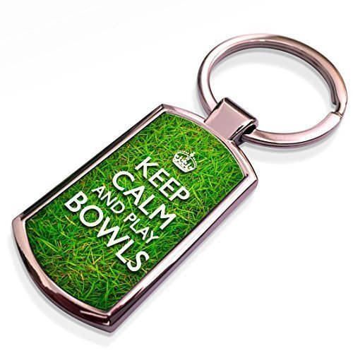51bLU79F3FL - Keep Calm and Play Bowls - metal keyring / keychain sports best price Review uk