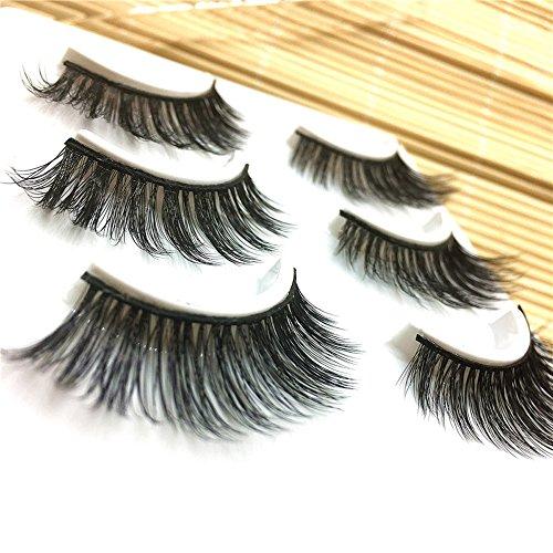 3 Paar lange falsche Wimpern Make-up natürliche gefälschte dicke, schwarze Wimpern