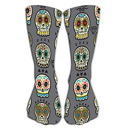 rts Men Women High Socks Stocking Mexican Day Dead Colorful Skull Cute Pattern Seamless Cartoon Calaveras Sugar Tile Length 19.7