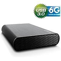 """FANTEC DB-AluSky U3-6G Box Case Esterno per Hard Disk SATA I/II/III da 8,89 cm (3,5""""), 6G e UASP, USB 3.0 SUPERSPEED, Case in Alluminio Spazzolato, Nero"""