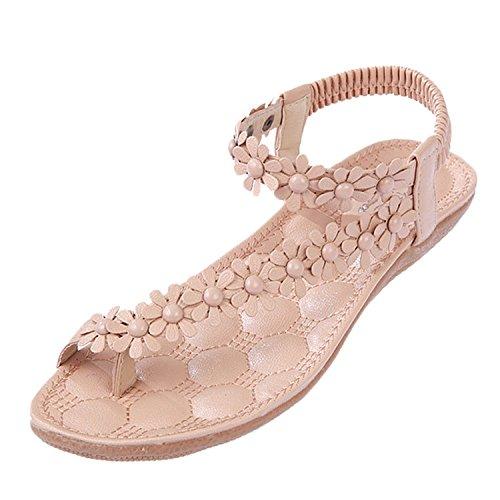 Minetom Donne scarpe casual Infradito Piatte con Fiori Sandali Elastici Boemi Dolci d'estate Accessorio Vacanza ( Rosa 1 EU 39 )