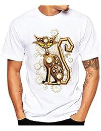 Camisetas Hombre Manga Corta,Venmo Hombre Gato Impresión Camisetas Deporte Ropa Deportiva Camisa de Manga