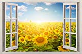 #8: 3D Depth Illusion Vinyl Wall Decal Sticker | Yellow Sunflower Sun Flowers Field Nautical Nature | Window Framed Wall Poster for Home Décor | SIZE: 135 cms x 90 cms (4.5 feet x 3 feet) by Paper Plane Design (PPD)