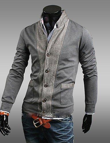 XX&GX contrasto del collare del basamento del cappotto bodycon colore di svago degli uomini di reverie , gray , l