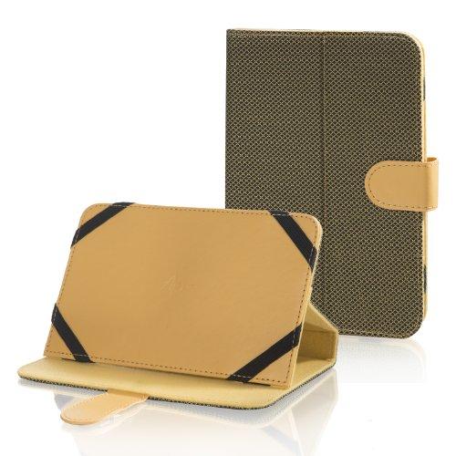 Bookstyle Tablet PC Tasche Etui Hülle Book Case gelb mit Standfunktion passend für AlpenTab TB7AB