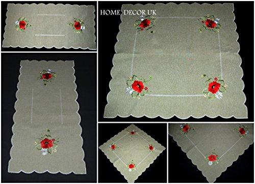 brodée Poppy Lin comme Nappe Style maison de campagne, chemin de table, Linen Like, 85 x 85 cm