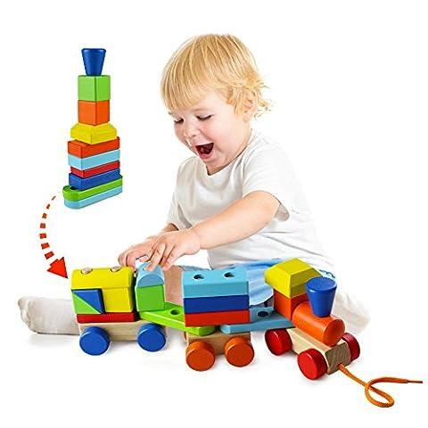 ACOOLTOY Bunte Hölzerne Geometrische Blöcke Zug Pull Zusammen Puzzle Entwicklungsspielwaren für Kinder ab 18 Monate (Blocchi Treno)